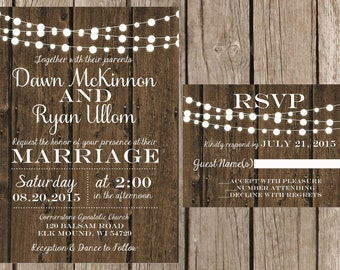 Rustic Wedding Invitation, Light Strand Wedding Invitation, Wood Wedding Invitaiton, Country Wedding Invitation, Barn Wedding Invitation