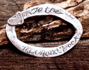 Love You To The Moon and Back - NEW Artisan Pendant or Bracelet Oval Connector or Link - 30.7mm Large AC62