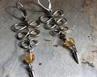 Long Dangle Earrings, Sterling Silver citrine Earrings, knot Earrings, Bohemian Earrings, Casual Earrings, Everyday Modern Earrings k#542