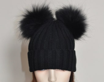 Double PomPom Hat Kylie Jenner 2 Fur pompoms Ribbed Beanie Black Hat  Double Bobbles Black hat Christmas Gift under 100
