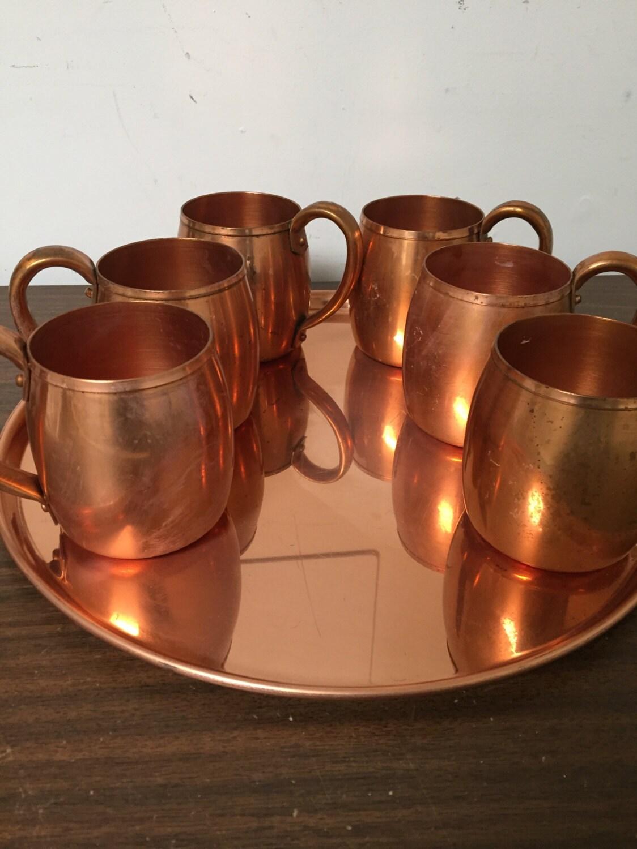 vintage set 6 copper mugs westbend moscow mule. Black Bedroom Furniture Sets. Home Design Ideas