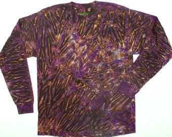 L  Shibori Men's Long Sleeve Tie Dye T Shirt Purple