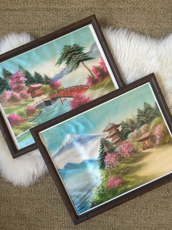 framed pair of vintage silk embroidered asian chinese wall hanging art