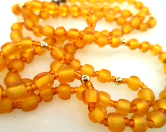Czech Satin Glass Bead Necklace 30 Inches Long