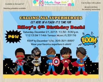 Superhero Birthday Party Invitation invite Super hero invitation superfriends african american superhero invitation batman spiderman ironman