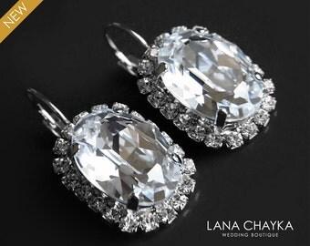 Crystal Oval Halo Earrings Bridal Rhinestone Earrings Swarovski Clear Crystal Earrings Hypoallergenic Earrings Wedding Leverback Earrings