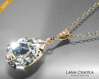 Crystal Gold Bridal Necklace Swarovski Clear Rhinestone Teardrop Necklace Wedding Crystal Gold Jewelry Crystal Sparkly Necklace Bridesmaids