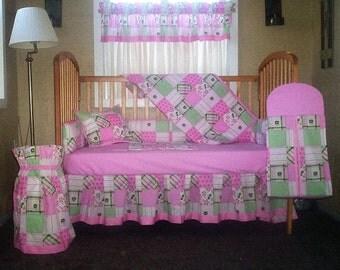 10 Piece John Deere Pink And Green Patchwork Plaid Baby Quilt Set, Nursery Set  7
