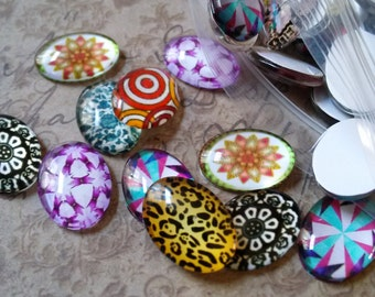 Oval Cabochons Glass Cabochons 18x13 Assorted Domed For Rings and Pendants 10 pieces