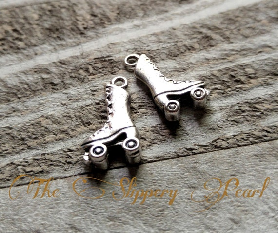 Roller Skate Charms Skating Charms Roller Derby Charms Antiqued Silver 10pcs