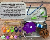 How to Kitchener - travel knitting supplies for your project bag: stitch markers/tape measure/travel scissors