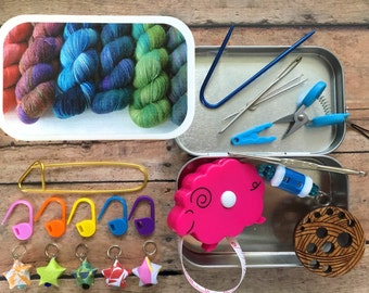 Knitter's Tool Tin - Variegated Yarn: knit kit with knitting and notions for your WIP bag!