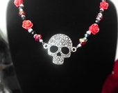 Skull and Roses Beaded Necklace