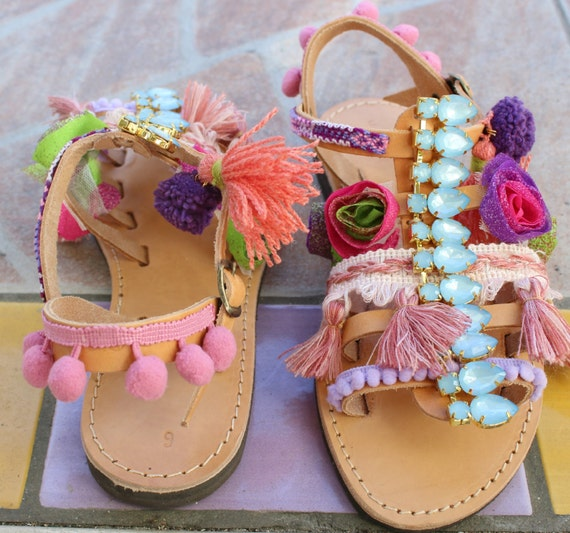 Girls boho sandals Baby sandals, baby shoes, baby boho sandals, baby gladiators, toddler sandals,
