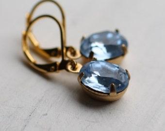 Light Blue Vintage Oval Earrings ... Sapphire September Birthstone