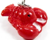 3-D Hand Painted Resin Puffy Red Lobster Charm, Qty 1