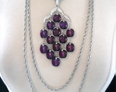 Vintage Crown Trifari Purple Lucite Waterfall Necklace w/ Silver Tone Chains