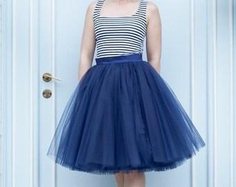 ON SALE 25% off Tulle skirt, navy blue tulle skirt, bridesmaid skirt, custom made skirt