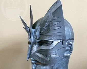 Silver Leather Cat Mask with horns - Handmade Warrior Costume Fantasy Renaissance Festival Masquerade