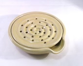 Soap Dish with Drain Tray - One Piece Soap Saver for Kitchen or Bath Glazed Yellow Cream
