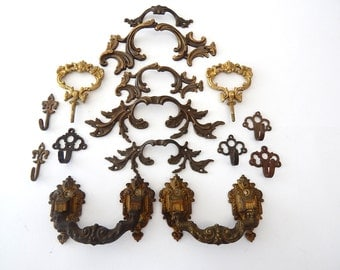 Group of French Vintage Metal Hardware Pulls and Hooks