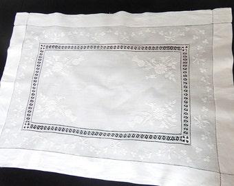 Table Center Dresser Scarf Wedding Hand Embroidered Irish Shamrocks