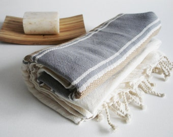 BathStyle / Turkish Beach Bath Towel Peshtemal / Natural - Gray / Wedding Gift, Spa, Swim, Pool Towels and Pareo