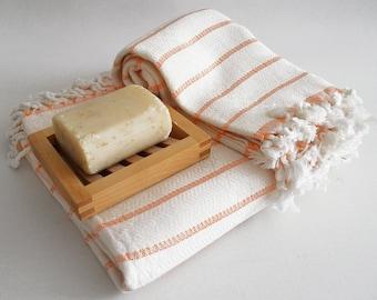 SALE 50 OFF / SET / Turkish Beach Bath Towel / Bamboo - Cotton / Orange Striped