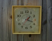 Vintage Yellow Kitchen wall clock, Electric Wall clock,