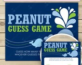 Whale Baby Shower Peanut Guessing Game Printable - Instant Download - Navy Blue & Green Baby Shower Guessing Game - Boy Baby Shower Game