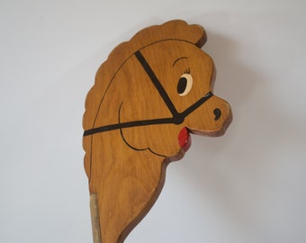 Vintage Wooden Stick Horse - Retro Toy