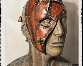Leather mask - Wooden -
