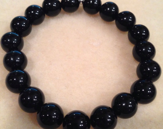 Black Onyx Round 10mm Bead Stretch Bracelet with Sterling Silver Accent