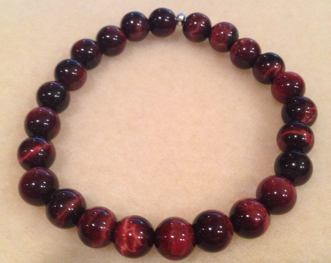 RED Tigerseye 8mm Round Bead Stretch Bracelet with Sterling Silver Accent