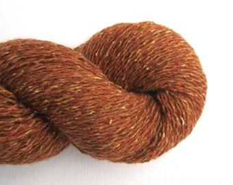Lace Weight Merino Silk Blend Recycled Yarn, Cinnamon Brown, Lot 170216