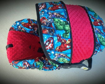 Block design marvel super hero infant car seat cover- Custom Order by Baby Seat Covers By Jill - always comes with free strap covers