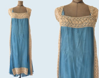 Edwardian Lace and Silk Aqua Blue Dress