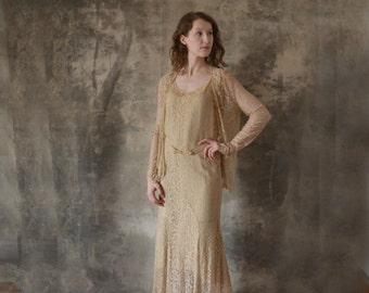 1930s Silk Lace Wedding Dress size S