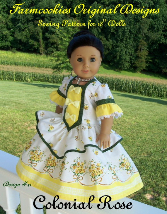 PRINTED Sewing Pattern / COLONIAL ROSE Gown & Crinoline for American Girl or Maru and Friends Dolls