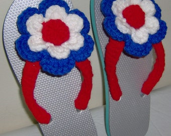 Crochet Women's flip flops, red, white and blue,  size medium 7-8, shoes, summer flip flops with attached flowers, summer sandals