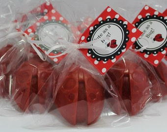 10 Ladybug/Cute as a Bug Soap Favors:  Wedding Favors, Baby Shower, Birthday Favors, Rustic Wedding, Bridal Shower, Baby Sprinkle