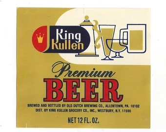 King Kullen Beer Vintage Label, 1960s