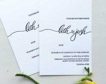 calligraphy wedding invitation heart wedding invitations letterpress invitations modern calligraphy simple wedding - Calligraphy Wedding Invitations