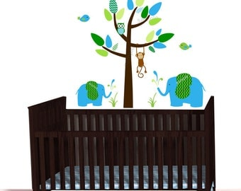 Blue Elephants, Mini Jungle Animal Decals, Jungle Decal Sticker, Over the crib, Monkey wall decal, Boy Green Chevron, polka dots, Brown Tree