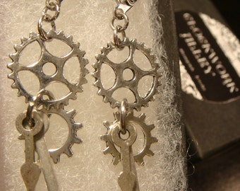 Antique Silver Gear and Cog with Watch Hands Steampunk Earrings (2049)
