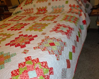 Queen Sized Quilt - Granny Square Patchwork Quilt