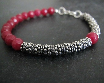 Red Jade Bracelet | Asymmetrical Bracelet | Stack Bracelet | Layering Jewelry | Gemstone Bracelet | Sterling Silver Jewelry
