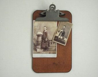 Vintage Clipboard / Old Office Clipboard / Wooden Clipboard / Small 7 x 11 Clipboard / Industrial Wall Display / Art & Photo Display