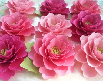 Paper Flowers - Weddings - Party Favors - Elizabeth Rose - Set of 12 - Shades of Pink - Custom Colors Available