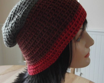 Slouchy Crochet Hat Cold Weather Hat Hockey Mom Hockey Dad Ice Skating Snow Playing Skiing